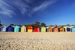 Chozas coloridas de la playa Fotografía de archivo libre de regalías