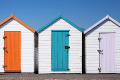 Chozas coloridas de la playa Imagen de archivo