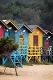 Chozas coloridas de la playa Foto de archivo libre de regalías