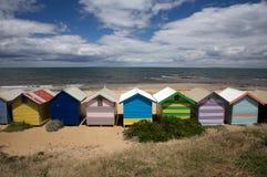 Chozas coloridas de la playa en la playa, Australia Foto de archivo libre de regalías