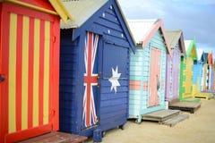 Chozas de la playa, bañando las cajas, Australia Imagen de archivo libre de regalías