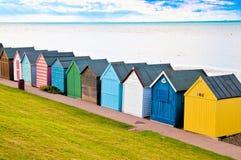 Chozas de la playa en Englands Foto de archivo libre de regalías