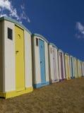 Chozas de la playa en la playa Imágenes de archivo libres de regalías