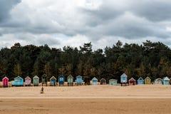 Chozas de la playa en Norfolk Inglaterra Imagen de archivo libre de regalías