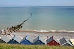 Chozas de la playa en Sheringham Fotos de archivo libres de regalías