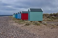 Chozas de la playa de Findhorn Foto de archivo
