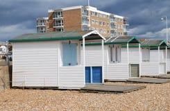 Chozas de madera de la playa, Bexhill Imagen de archivo libre de regalías