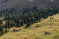 Chozas de madera en prado alpino en dolomías fotos de archivo