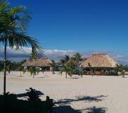chozas del Cubrir con paja-tejado en la isla tropical fotos de archivo