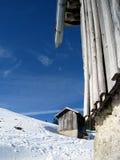 Chozas en el invierno 2 Foto de archivo libre de regalías