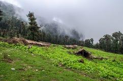 Chozas en el sitio para acampar de Tolpani - viaje de Roopkund Foto de archivo