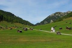 Chozas hermosas de la montaña con la pequeña iglesia en colmo Foto de archivo