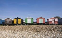 Chozas inglesas de la playa foto de archivo