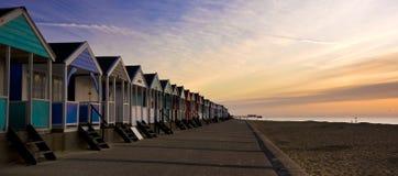 Chozas inglesas de la playa Imágenes de archivo libres de regalías