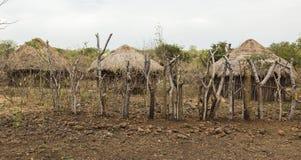 Chozas tradicionales en pueblo del mursi Valle de Omo etiopía Fotos de archivo libres de regalías
