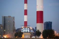 CHP on evning - Lodz, Poland. Very big CHP on evening in Lodz, Poland Royalty Free Stock Image