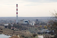 CHP in Kerch. Building a Kamysh-Burunskaya CHP in Kerch, Crimea. Top view Royalty Free Stock Photos