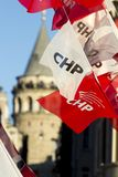 Banner of the opposition CHP party seen with Galata Tower in the background in Istanbul, Turkey during elections, June 13th, 2018. stock photography