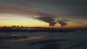 CHP releases toxic clouds of eerie gas into the atmosphere of a nice night city.