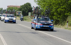 Chèques postaux d Italie 2014, voiture de suport de Team Garmin-Sharp Image libre de droits