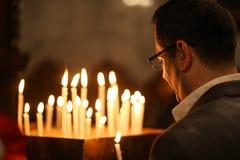 Chrétiens palestiniens à l'église de St Porphyrius à Gaza Images libres de droits