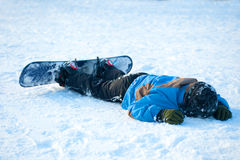 Chrash with the snowboard Stock Photography