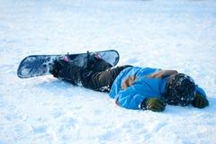Chrash z snowboard Fotografia Stock