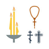 Chrch蜡烛和宗教象传染媒介 免版税库存图片