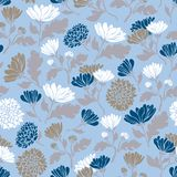 Seamless floral pattern with chrysanthemums. Texture with meadow flora for surfaces, paper, wrappers, backgrounds, scrapbooking. royalty free illustration