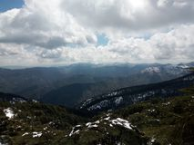 Chriaa mountains. Beautiful , amazing , wonderful photo i took in Chriaa mountains in Blida ,Algeria , with my phone . It shows some snow covering the mountains Stock Photo