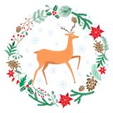 Chriatmas wreath with berries, fir branches, deer. Round frame for winter design. Vector background. Isolated on white Royalty Free Stock Photography