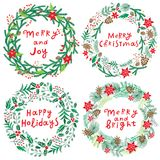 Chriatmas wreath with berries, fir branches and lettering. Round frame for winter design. Vector background. Isolated on white Stock Images
