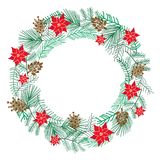 Chriatmas wreath with berries, fir branches. Round frame for winter design. Vector background. Isolated on white Royalty Free Stock Photo