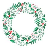 Chriatmas wreath with berries, fir branches. Round frame for winter design.. Vector background isolated on white Royalty Free Stock Images