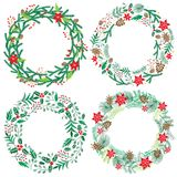 Chriatmas wreath with berries, fir branches. Round frame for winter design. Vector background. Isolated on white Stock Image