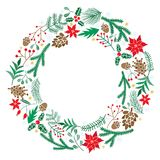 Chriatmas wreath with berries, fir branches. Round frame for winter design. Vector background. Isolated on white Royalty Free Stock Images