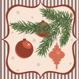 Chriestmas greeting card. Retro stylized christmas greeting card vector illustration