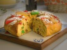 Chrintmas portugisisk konung Cake Arkivfoton