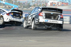 Chris Atkinson 55, drijft een STI van Subaru WRX auto, tijdens Rode B Royalty-vrije Stock Foto's