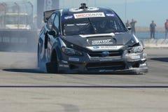 Chris Atkinson 55, drijft een STI van Subaru WRX auto, tijdens Rode B Royalty-vrije Stock Afbeeldingen