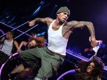 Chris Brown führt im Konzert durch stockfotos