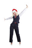 Chris businesswoman. Young beautiful woman in a santa's cap smiling. Isolated on white Royalty Free Stock Photography
