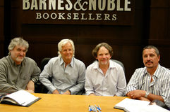 Chris Carter, Frank Spotnitz, Rob Bowman. Author Matt Hurwitz, writer/director Chris Carter, director/producer Frank Spotnitz, and director Rob Bowman sign Royalty Free Stock Images