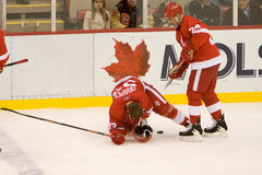 Chris Chelios Come To The Aid Of Kris Draper Stock Photography