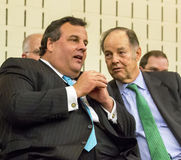 Chris Christie und Tom Kean Confer Stockbilder