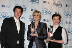 Chris Colfer, Cory Monteith, Jane Lynch stockfotos