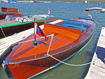 Chris Craft Speed Boat. This is a well maintained wooden hulled Chris Craft speed boat at a classic boat show stock image