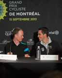 Chris Froome and Alberto Contador at the elite press conference Royalty Free Stock Image