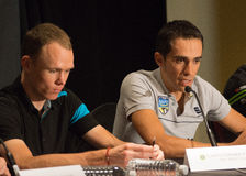 Chris Froome and Alberto Contador at the elite press conference Royalty Free Stock Photo