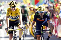 Chris Froome and Alejendro Valverde Tour de France 2015 Stock Photo